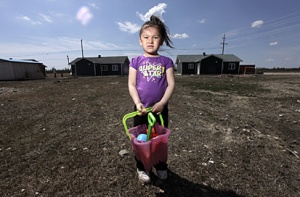 Cree child, Attawapiskat, Canada. Image source.