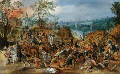 Travellers ambushed during the chaos of the 30 years war.  Sebasrtian Vrancx (1573-1647). Image source.