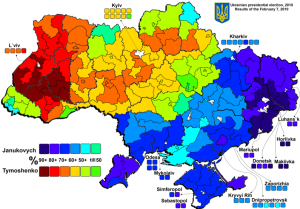 The political map of Ukraine, showing the solid support for the present government in the Eastern, ethnically Russian portion of the country. Source.